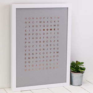 Rose Gold Metallic Foil 'Home' Wordsearch A3 Print - modern & abstract