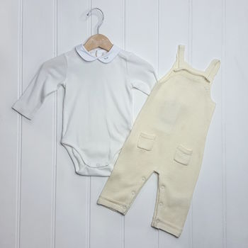 Baby Boy Vintage White Winter Christening Two Piece