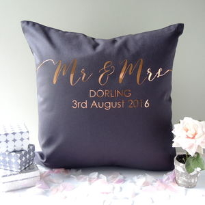 Personalised Mr And Mrs Gold Cushion - 2nd anniversary: cotton