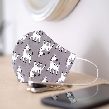 Grey Zebra Print Fabric Face Mask