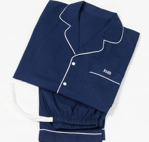 Men's Personalised Navy Cotton Pyjamas - gifts for him
