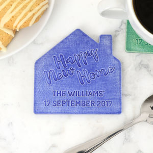 Personalised Ceramic 'Happy New Home' Coaster