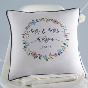 Floral Personalised Wedding Cushion - 2nd anniversary: cotton