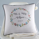 Floral Personalised Wedding Cushion