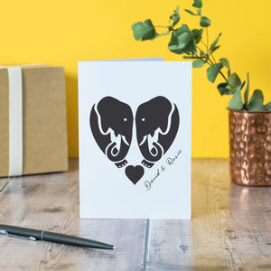 Personalised Elephant Love Card - original valentine's cards