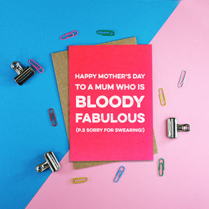 Bloody Fabulous Mum Mothers Day Card - personalised cards