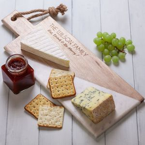 Personalised Diagonal Mango Wood Marble Chopping Board - serving dishes