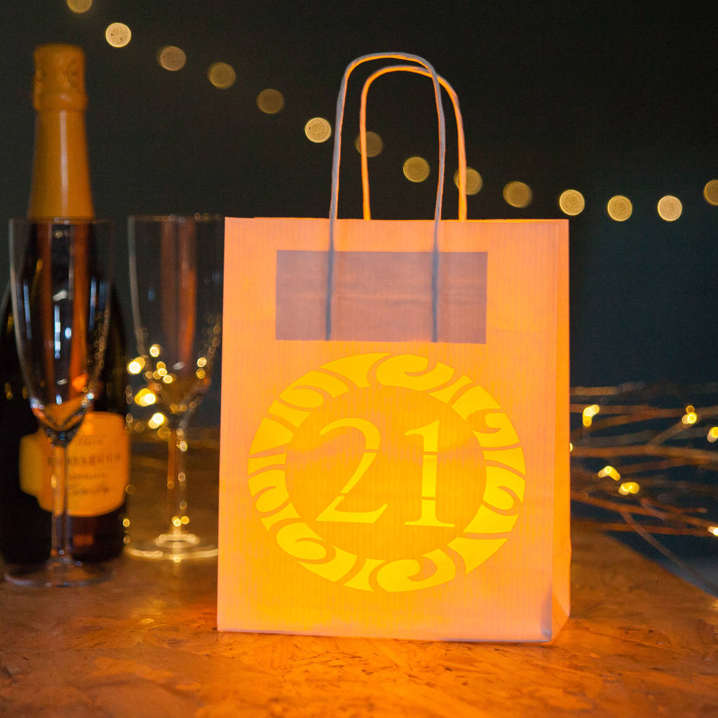 21st Birthday Party Bags Lanterns With Vellum