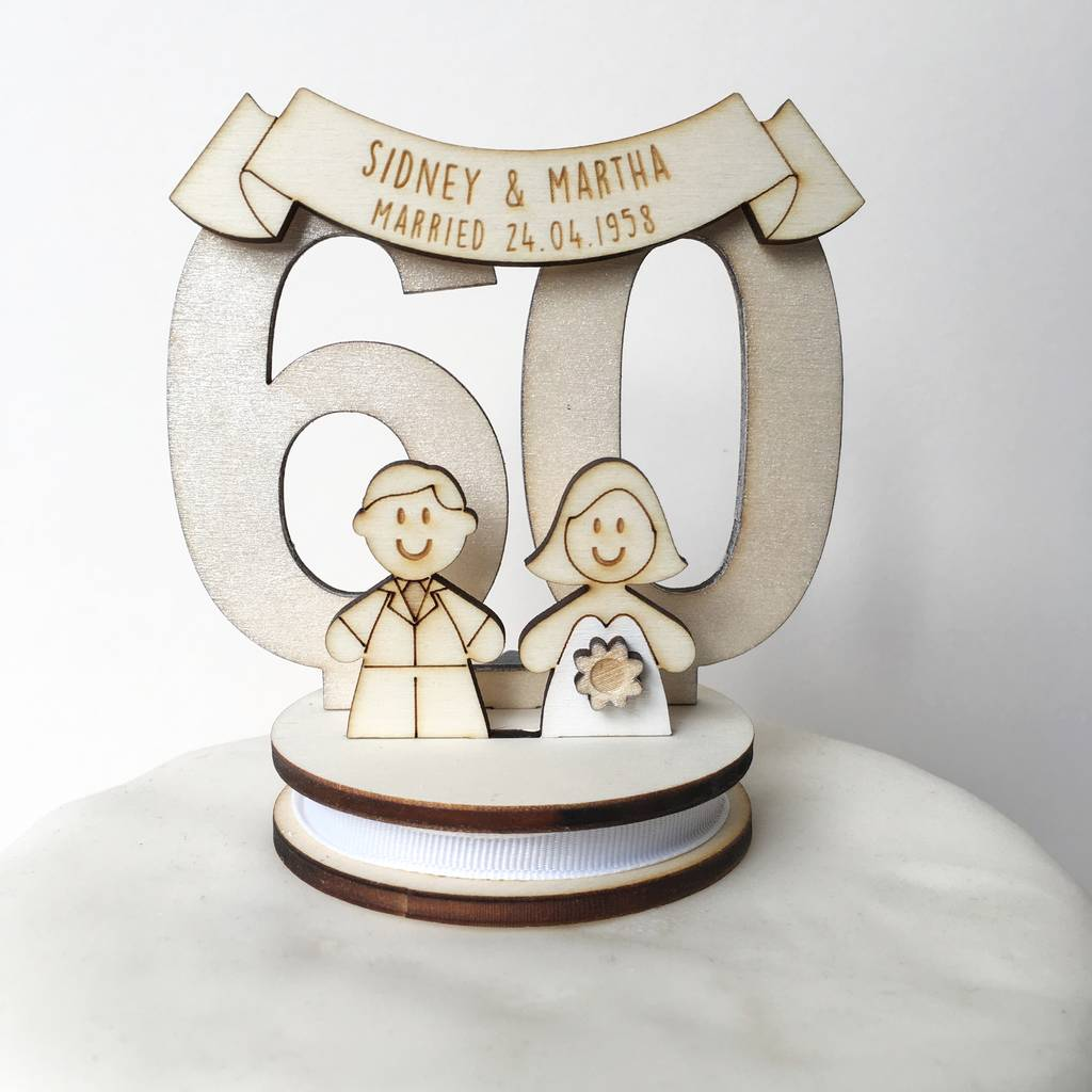 anniversary wedding cake toppers personalised 60th wedding anniversary cake topper by just 10787