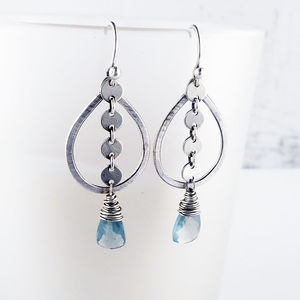 Sequin Aquamarine And Silver Earrings
