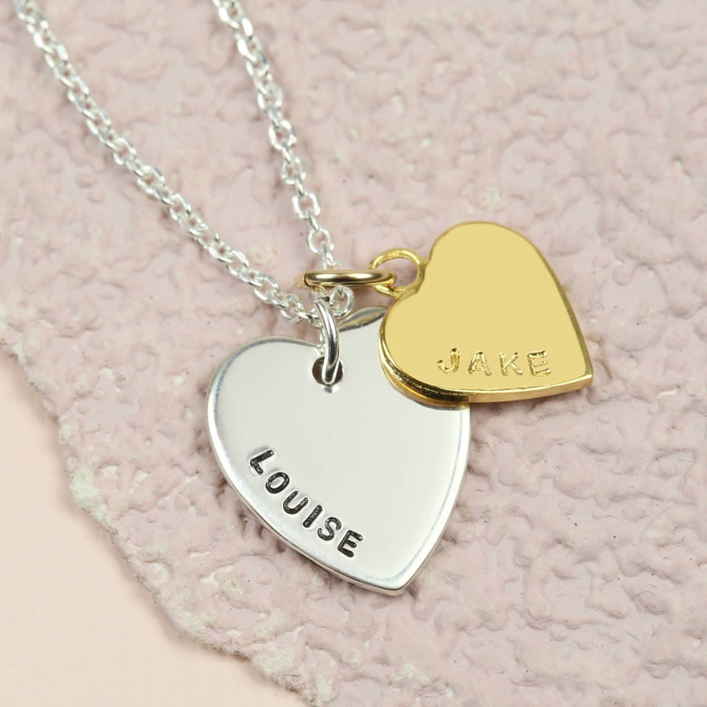 Personalised vermeil double heart pendant necklace by lisa angel personalised vermeil double heart pendant necklace mozeypictures Image collections