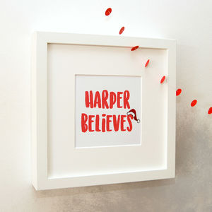 'Believe' Embellished Print In White Frame