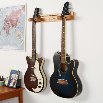 Personalised Double Guitar Stand And Plectrum Holder
