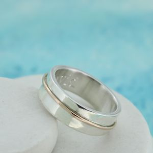 Personalised Wedding Ring With Gold Accent - rings