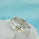 Personalised Wedding Ring With Gold Accent