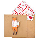 Handmade Fox In Heart Jumper Valentines Card