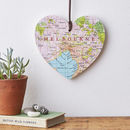 Engraved Personalised Map Location Hanging Heart