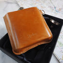 Back of world map leather hip flask
