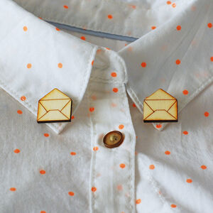 Pair Of Wooden Envelope Collar Pins