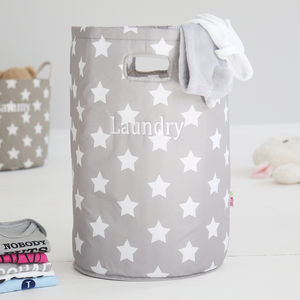 Personalised Star Laundry Bag Grey - new in home
