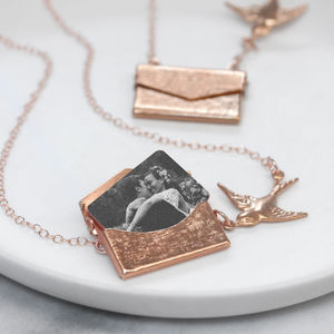 Personalised Photo Envelope Necklace With Bird - personalised jewellery