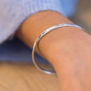Personalised Hammered Silver Bangle - personalised jewellery