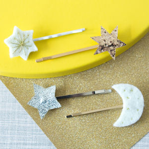 Glitter Star And Moon Sweet Thing Hair Slides - whatsnew