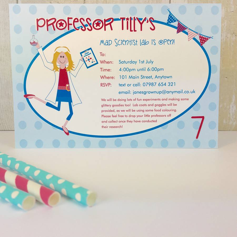 16 Mad Scientist Party Invitations Or Thank You Cards