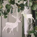 Two Silver Hammered Stag Tree Decorations