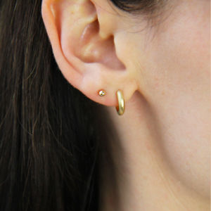 14ct Gold Sleeper Hoop Earrings - earrings