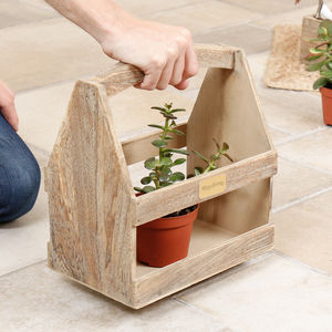 Personalised Vintage Garden Plant Carrier - crates