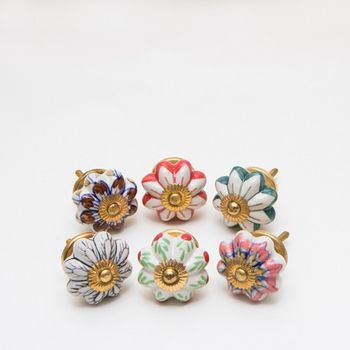 Set Of Six Ceramic Floral Knobs