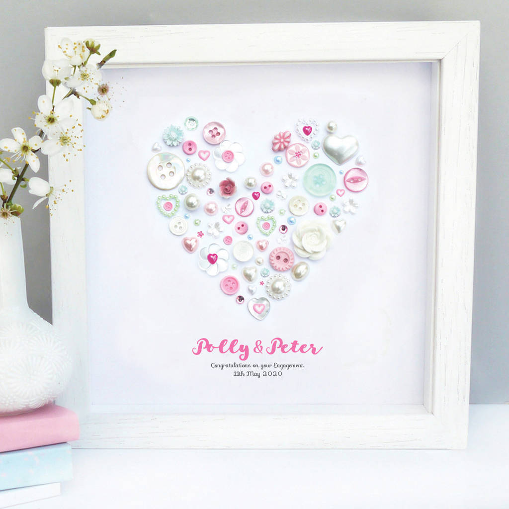 Personalised Engagement Heart Art Gift