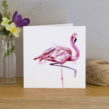 Inky Flamingo Blank Greetings Card