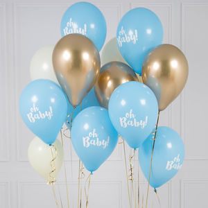 Pack Of 14 Oh Baby Blue Party Balloons