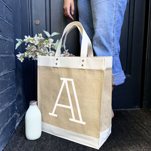 Personalised Jute Initial Bag