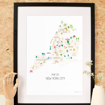 Map Of New York City Boroughs Art Print