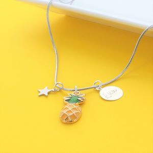 Pineapple Personalised Name Charm Necklace