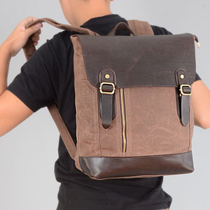 Handmade Waxed Canvas Zip Detail Backpack - winter sale