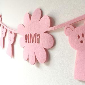 Personalised New Baby, Bear Bunting - children's room