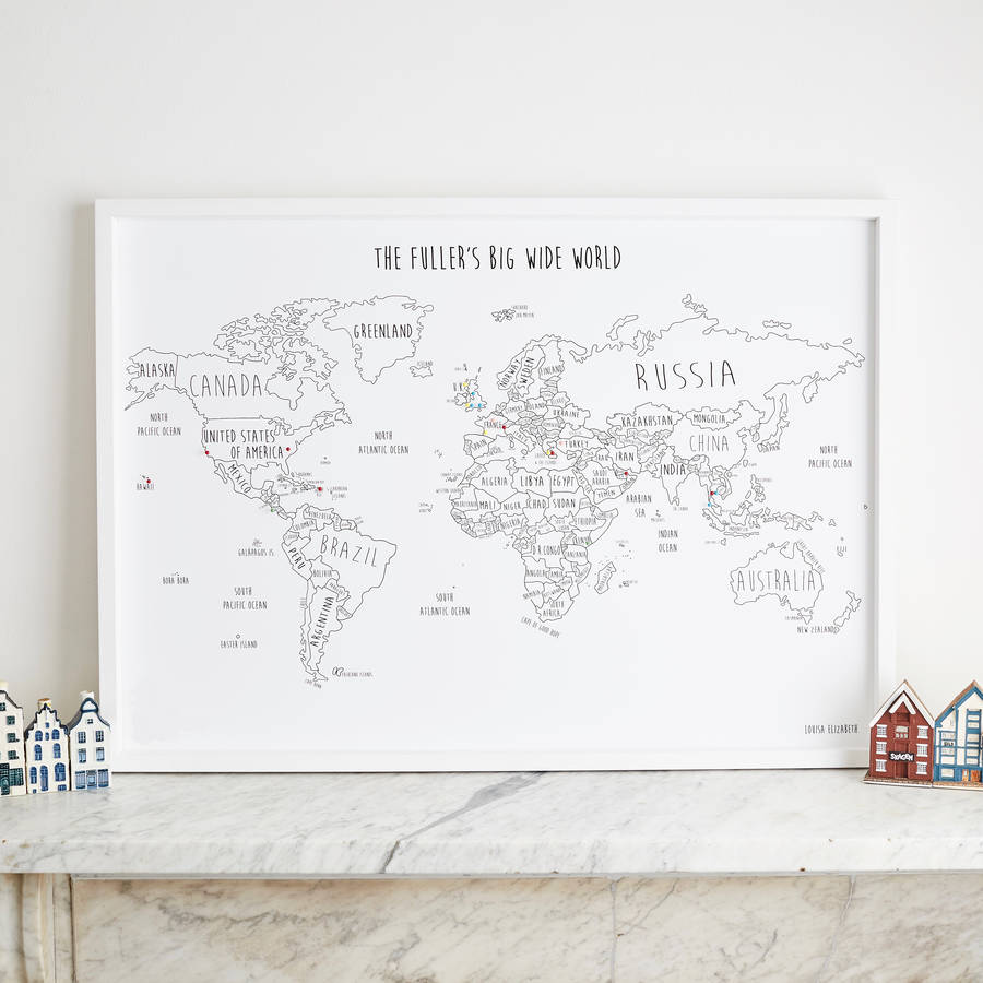 personalised world travel map with pins by louisa elizabeth – World Travel Maps With Pins