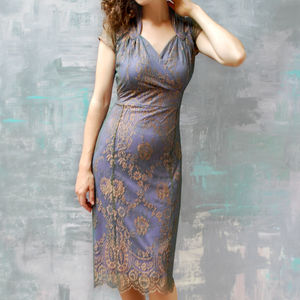 Lace Dress With Sweetheart Neckline In Bronze Lace