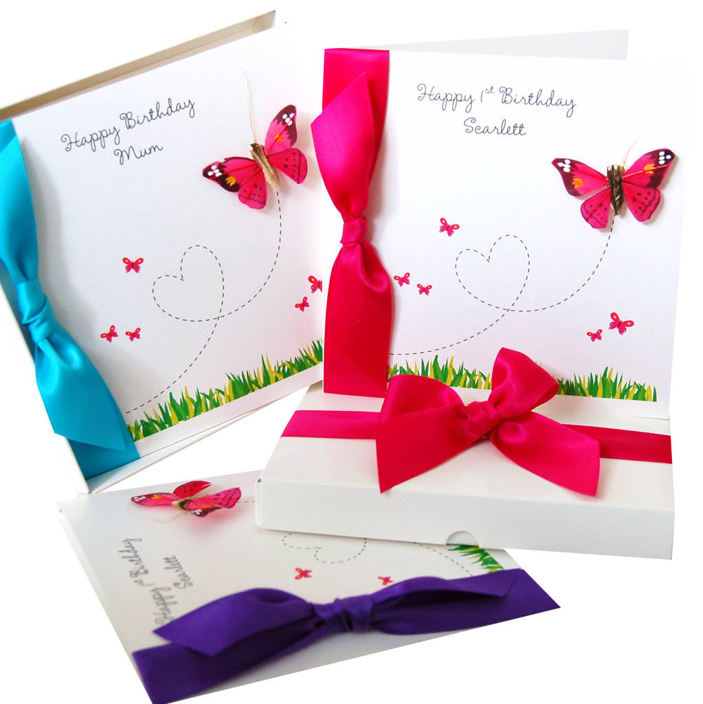 flutter butterfly personalised birthday card by made with love – Birthday Cards Girls