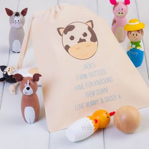 Children's Wooden Farm Animal Skittles Personalised Bag - games