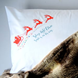Personalised Kids Christmas Eve Pillowcase - bedroom