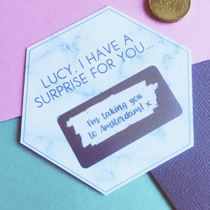 Personalised Marble Hexagon Secret Message Scratchcard
