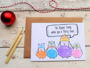 Personalised Family Robin Christmas Cards - winter sale