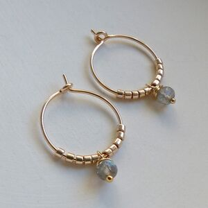 Petite Faceted Labradorite Hoop Earrings