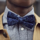 Navy Floral Corduroy Bow Tie
