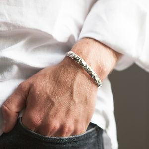 Men's Solid Silver Cuff Bracelet Bangle - gifts for him
